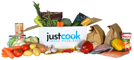A JustCook box with ingredients