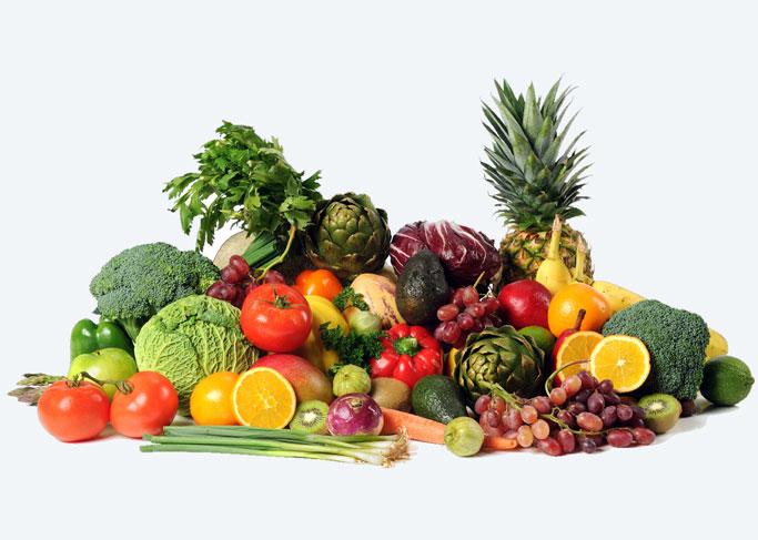 Fresh produce on a white background